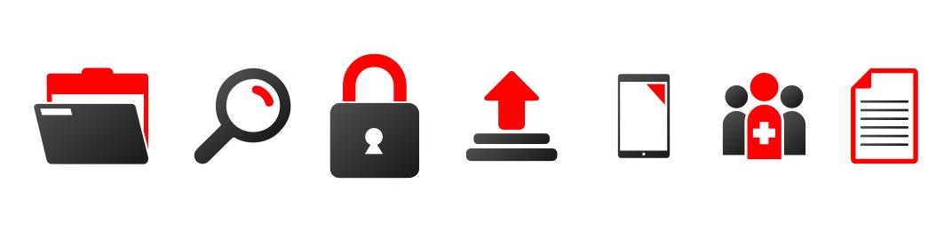 Wichtige Funktionen eines DMS - Darstellung mit Symbolen